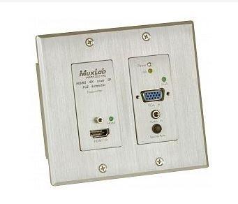 Plaque murale HDMI / VGA sur IP 4K PoE  Transmetteur 500773-TX Muxlab