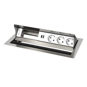 CablePort standard² 6M, 3 alims, 2x USB et 2 modules vide (inox) Kindermann 7492000163