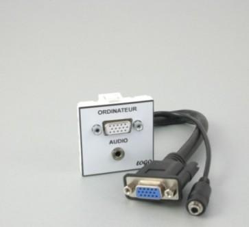 Plastron 45 + 1 HD15 F + Jack 3,5 20cm fiches HD15 F + Jack 3,5 F