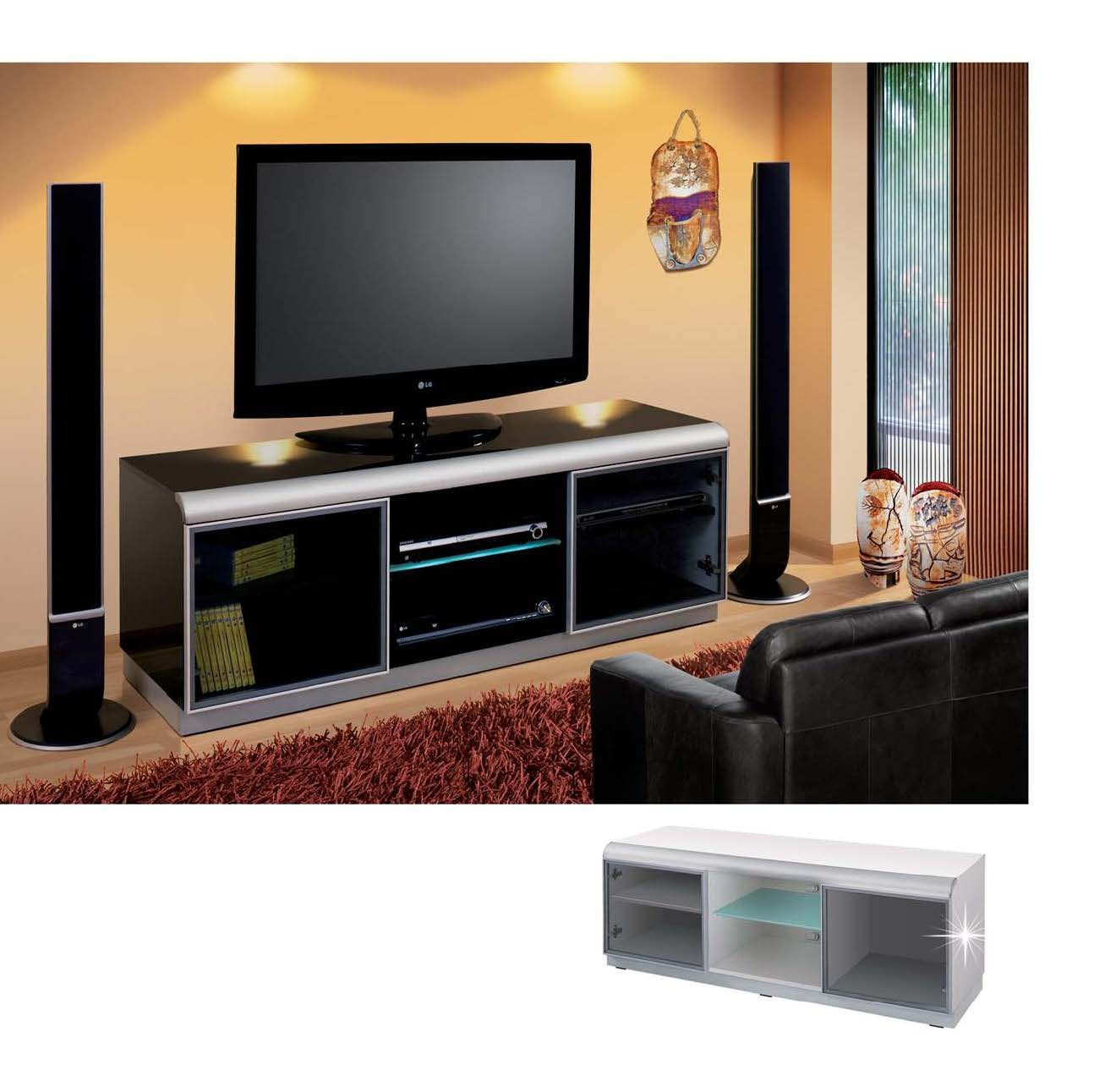 Meuble tv hubertus denver noir audiovisuel solution for Meuble tv deco