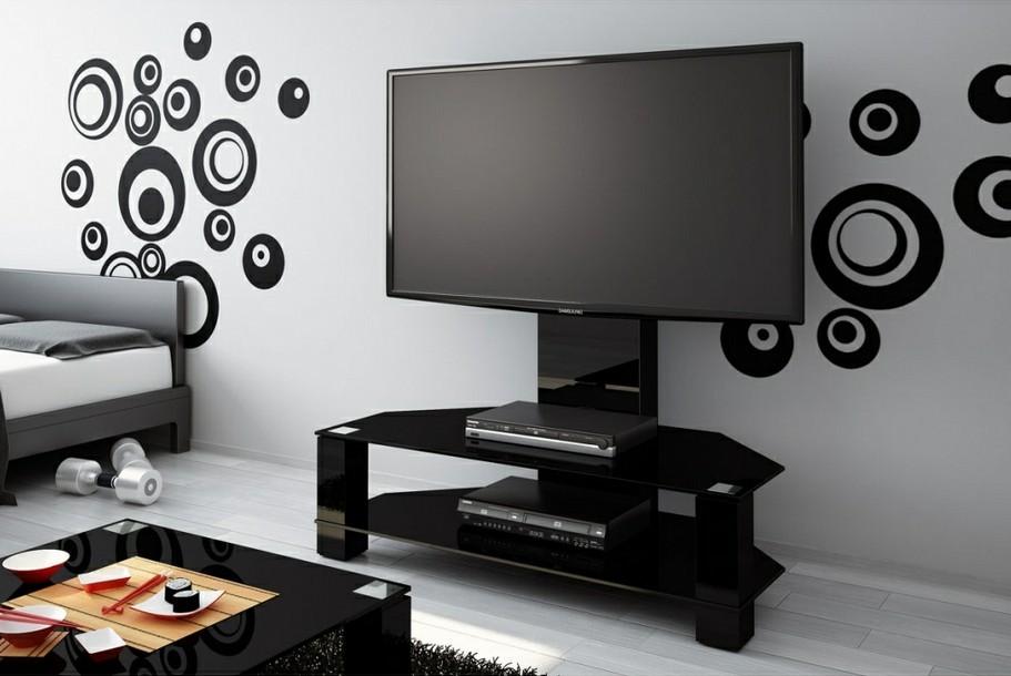 meuble tv hubertus lugano noir high gloss verre noir audiovisuel solution. Black Bedroom Furniture Sets. Home Design Ideas