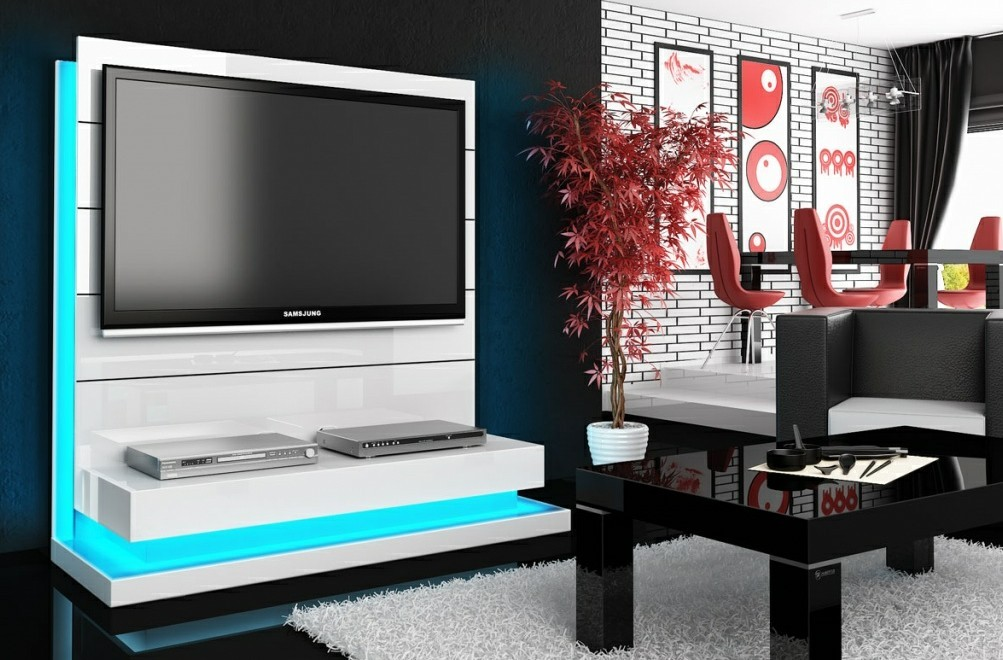 meuble tv hubertus panorama lux blanc high gloss audiovisuel solution. Black Bedroom Furniture Sets. Home Design Ideas