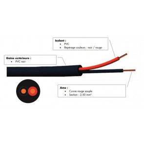 Cable hp souple 2x2.50 mm² noir 500m FHP2255