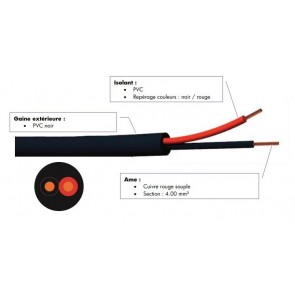 Cable hp souple 2x4.00 mm² noir à la coupe FHP2400