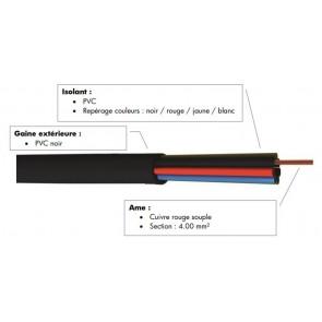 Cable hp souple 4x4.00 mm² noir à la coupe FHP4400