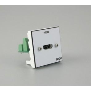 Plastron 45 + embase HDMI montée sur bornier à vis