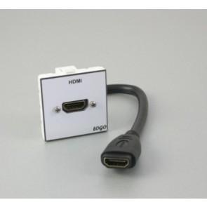 Plastron 45 + embase HDMI F 20cm vers HDMI F comprise