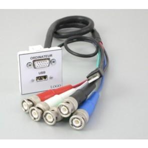 Plastron + 1 HD15 F 10m en 5 BNC M et 1 USB A F 10m en USB A M