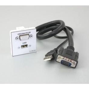 Plastron + 1 HD15 1m en HD15 F et 1 USB A F 1m en USB A M