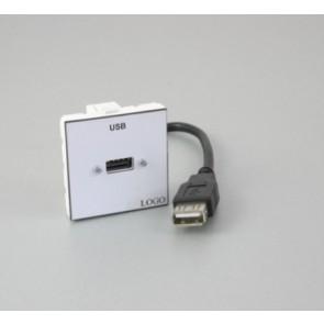 Plastron 45 + 1 USB A F 20cm vers fiche USB A F