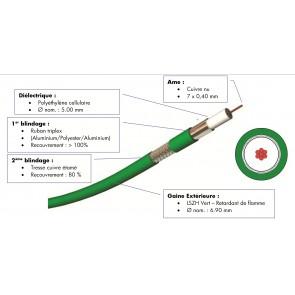 Cable video numerique vert n 500m VCB1005 S2CEB