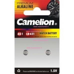 Pack 2 Piles Boutons Camelion Alcaline AG1/LR621