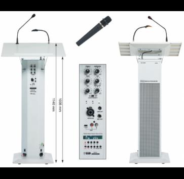 Pupitre amplifié Rondson 40W RMS av. récepteur VHF & micro émetteur main, lecteur/enregistreur (USB/SD/MMC) - 220 V-240 V