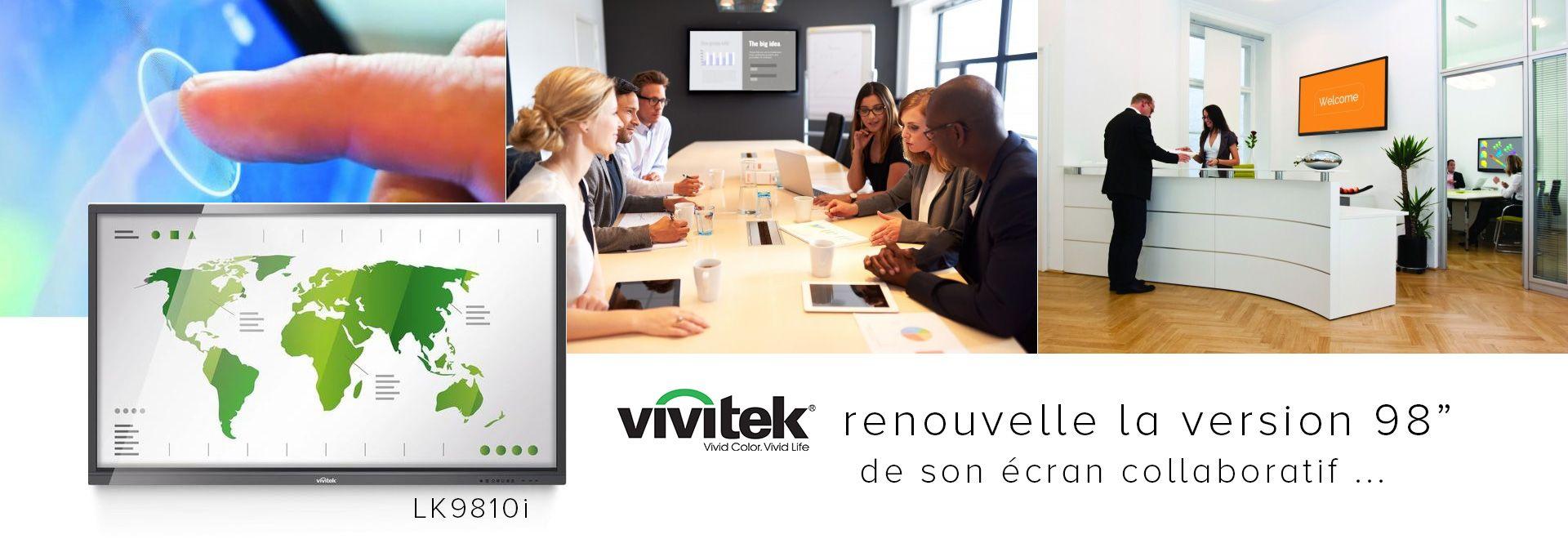 Vivitek renouvelle la version 98″ de son écran collaboratif multitouch avec le LK9820i