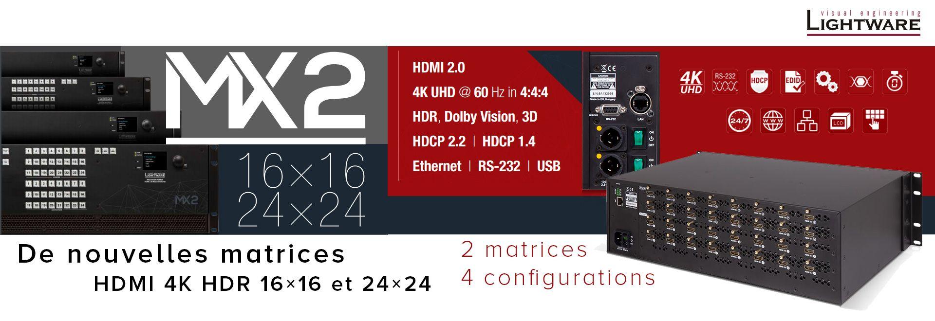 De nouvelles matrices HDMI 4K HDR 16×16 et 24×24 chez Lightware